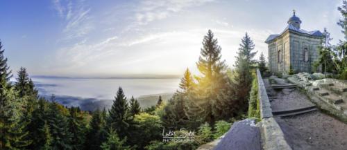Ranní výhled z terasy na Hvězdě - Broumovsko