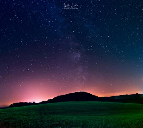 Jižní obloha a světelný smog z Javořích hor - Broumovsko