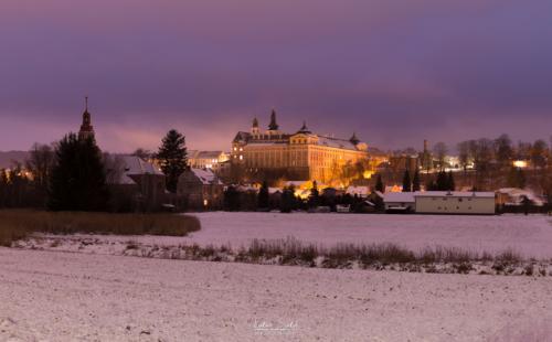 Noční panorama kláštera - Broumov